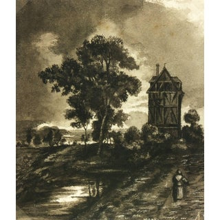 Antique German Countryside Landscape Painting For Sale