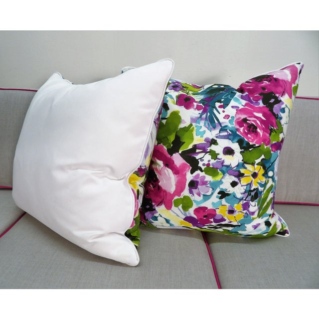 Contemporary Colorful Floral Pillows - a Pair For Sale - Image 3 of 5