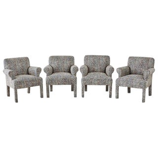 Set of Four Cheetah Leopard Upholstered Club Chairs For Sale