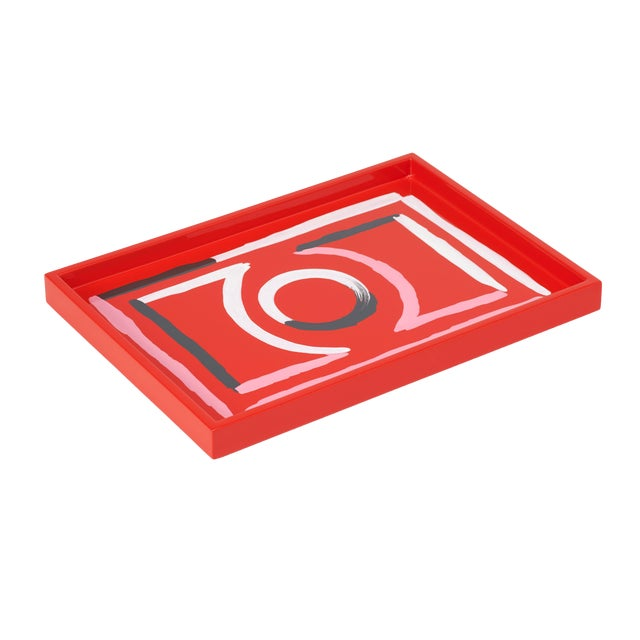 Luke Edward Hall Collection Small Etienne Tray in Red For Sale