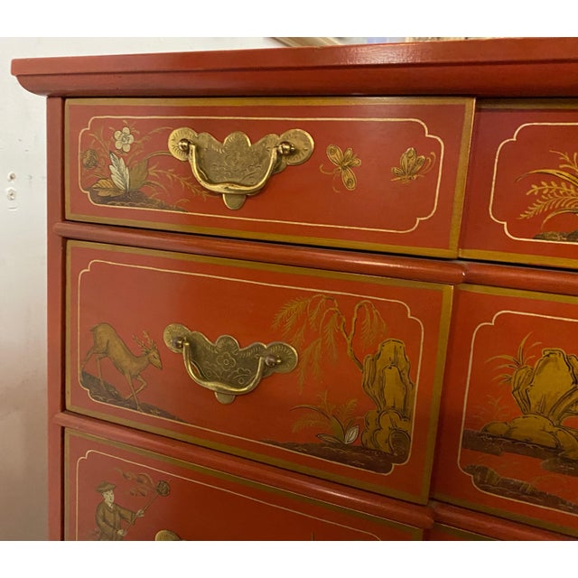 Asian Chinese Red Chinoiserie Chest of Drawers by Baker Furniture C.1970s For Sale - Image 3 of 11