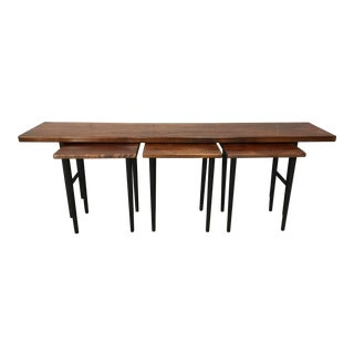 1960s Danish Modern Rosewood Table With 3 Small Nesting Tables - 4 Pieces For Sale