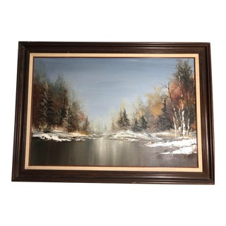Early 20th Century Antique River in Winter Landscape Oil Painting For Sale