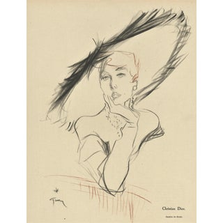 Matted Mid-Century Hat Fashion Print for Christian Dior by Gruau For Sale