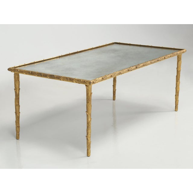 1960s Baguès Solid Bronze Gilt Coffee Table For Sale - Image 5 of 13