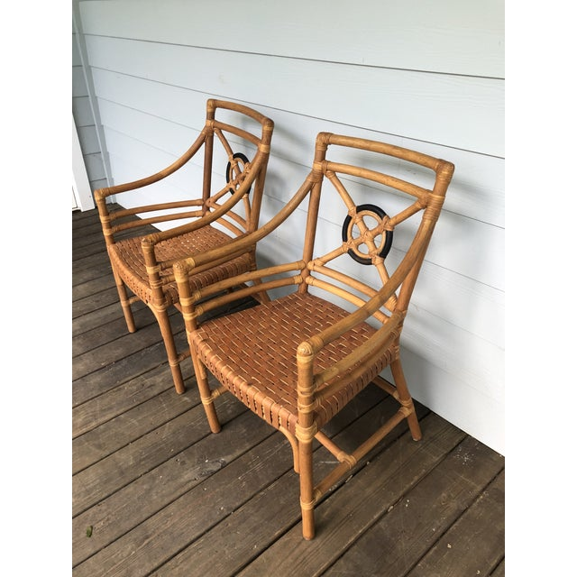 McGuire Rattan Rawhide Target Chairs- Set of 6 For Sale In Charleston - Image 6 of 13