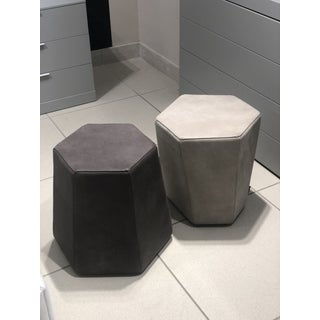 Italian Leather Ottomans - a Pair Preview