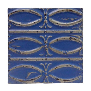 Antique Dark Blue Fish Pattern Tin Panel For Sale