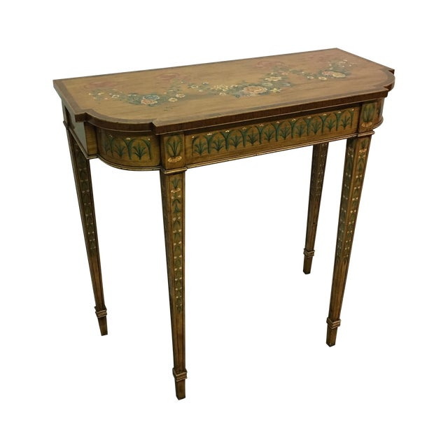 Hand-Painted Floral Console Table - Image 1 of 11