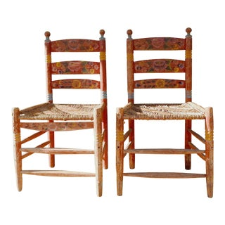 Vintage Painted Mexico Folk Art Rush Seat Chairs - a Pair For Sale
