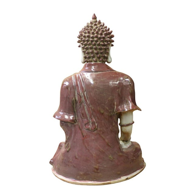 Vintage Chinese Red Glaze Porcelain Sitting Buddha with Tower Statue For Sale - Image 5 of 7