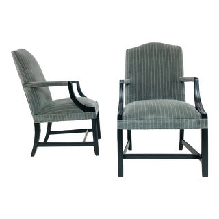 Gray and Ivory Pinstripe Velvet Arm Chairs - a Pair For Sale