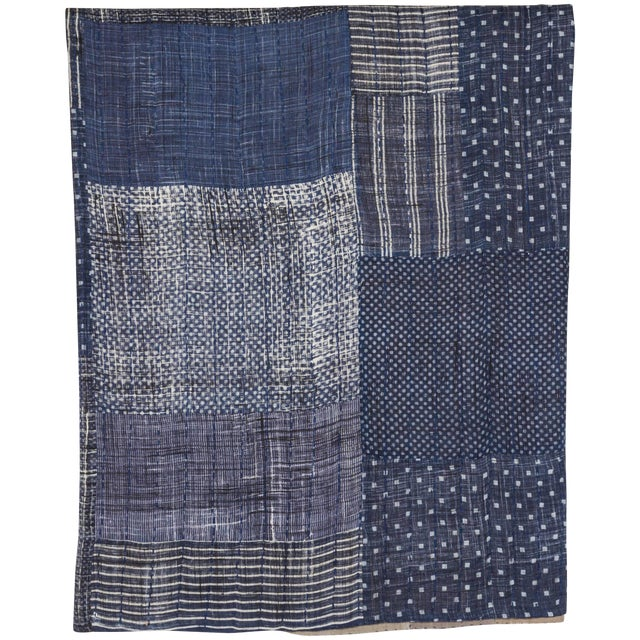 Indian Indigo Quilted Cotton Bedcover For Sale
