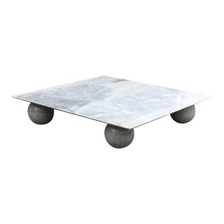 Italian Square Low Profile Marble Coffee Table For Sale