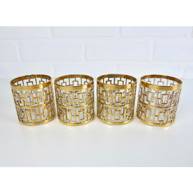"Set of 4 Rare 2.75"" Imperial Glass 24k Gold Shoji Cocktail Glasses - Image 3 of 7"