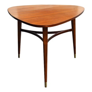 Vintage Swedish Mid-Century Modern Mahogany Triangle or Tripod Lamp End Table For Sale