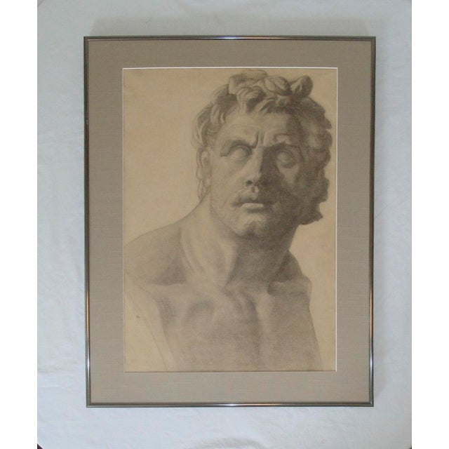 Charcoal Classical Bust Sculpture Charcoal Drawing, C. 1915 For Sale - Image 7 of 7