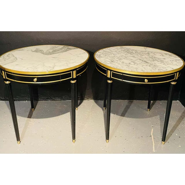 Hollywood Regency Pair of Maison Jansen Style Bouillotte or End Tables, Ebony Bronze Marble Top For Sale - Image 3 of 13