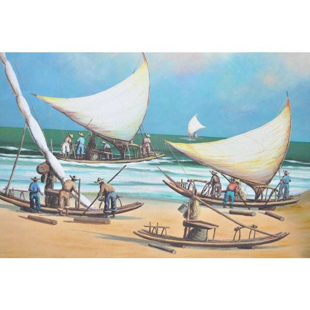 Vintage Island Oil Painting by Balikian - Image 3 of 8