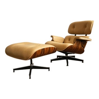 Herman Miller Eames Tan Leather 670/671 Lounge Chair and Ottoman
