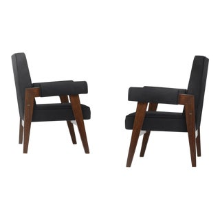 """""""Advocate & Press"""" Bridge Style Lounge Chairs Upholstered in Brazilian Cowhide- a Pair"""