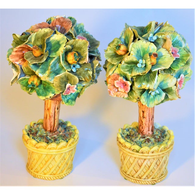 Vintage Italian Majolica Topiary Trees - A Pair For Sale In Houston - Image 6 of 7