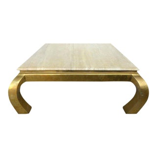Mid-Century Modern Karl Springer Style Brass and Travertine Coffee Table