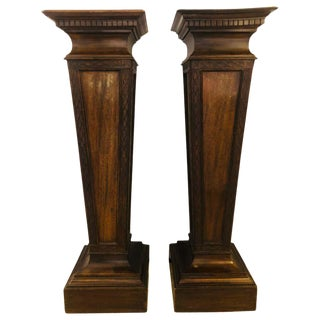 Pair of Mahogany Empire Style Wooden Pedestals For Sale