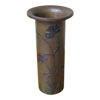 Antique Heintz Bronze Vase With Sterling Silver Overlay For Sale