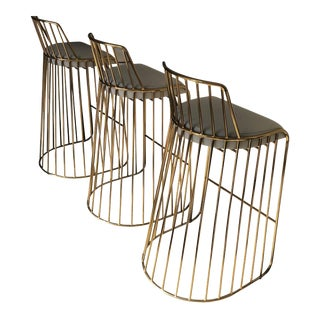 Modern Brass & Leather Bar Stools from Phase Design - Set of 3 For Sale