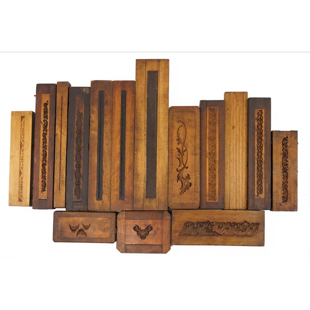 Collection of 50 19th Century Carved Wood Molds for Castings. Would make a great residential or commercial art...