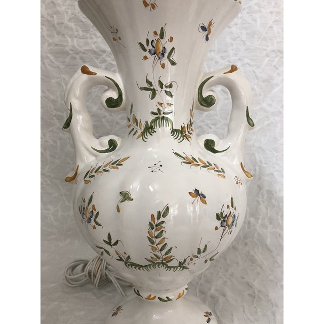 1980s Vintage French Moustiers France Hand Painted Faience Signed Table Lamp For Sale - Image 4 of 11