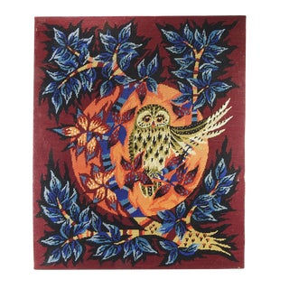 Mid Century Modern Owl Needlepoint Tapestry For Sale