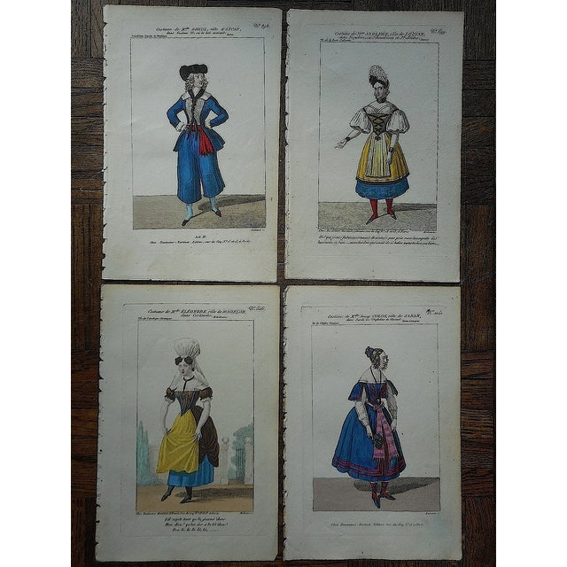 Four Antique French Theater/Costume Prints - Image 2 of 6