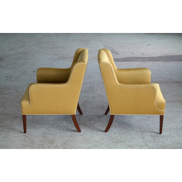 Frits Henningsen Pair of Lounge Chairs Denmark, Circa 1950 For Sale - Image 12 of 13