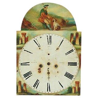 Antique Hand-Painted Scottish Tall Clock Face For Sale
