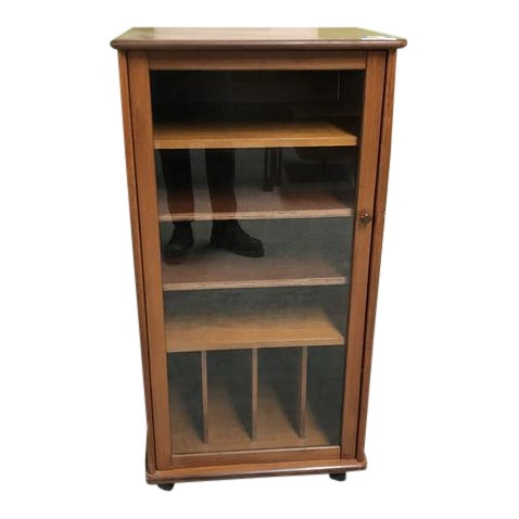 Vintage Mid Century Cabinet With Glass Door For Sale