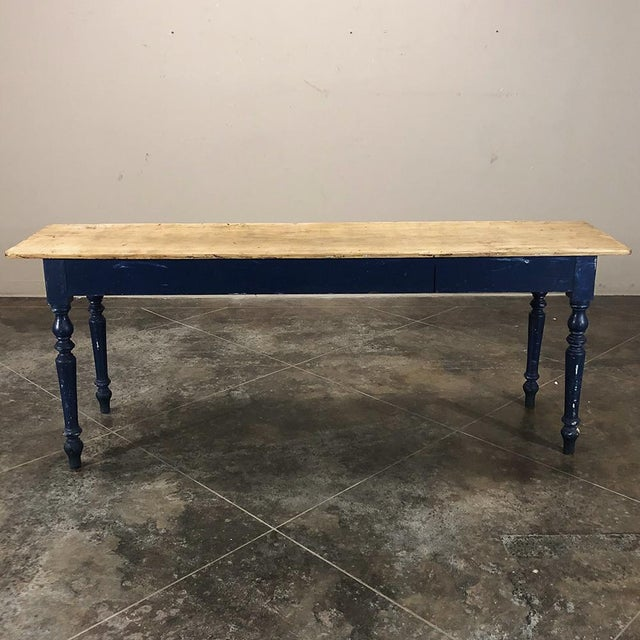 Antique 19th Century Painted Sofa Farm Table With Stripped Top For Sale - Image 9 of 13