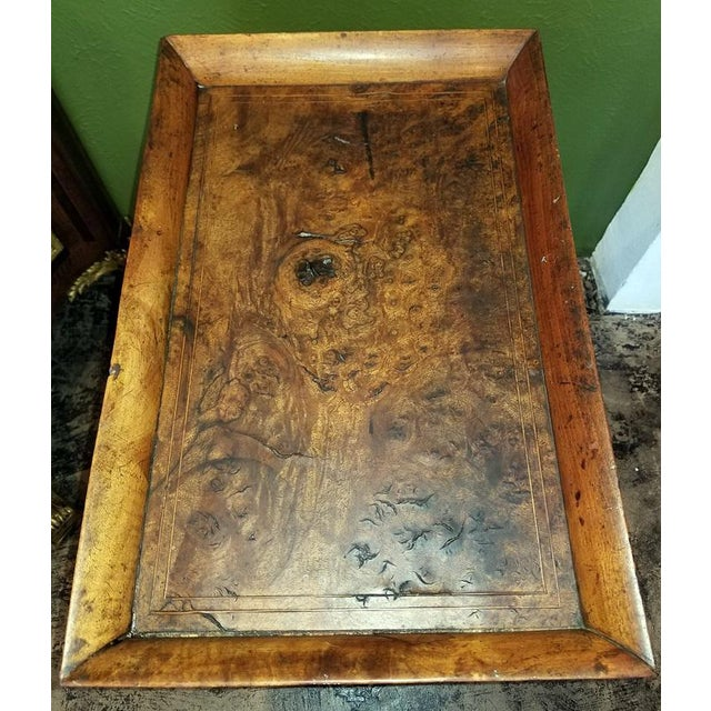 18c French Provincial Burl Walnut Lyre Work Table For Sale - Image 4 of 13