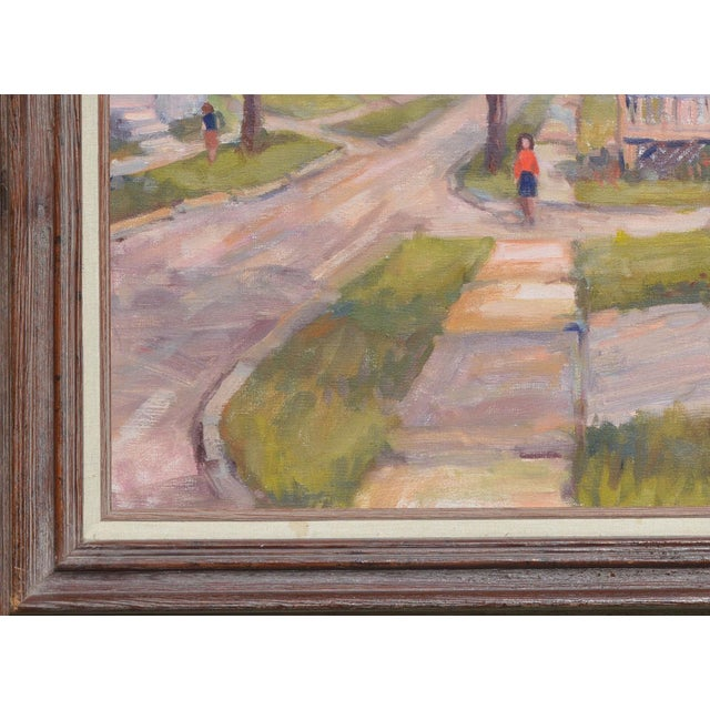 1950s C.1950's John W. Wagner Cityscape Oil Painting For Sale - Image 5 of 9