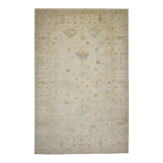 Modern Oushak Rug with Transitional Style in Light Colors