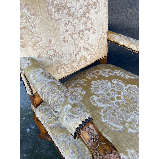 Single 18th C. French Regence Walnut Carved Arm Chair For Sale - Image 10 of 12