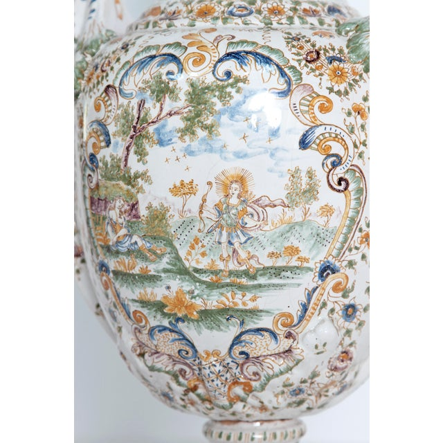 Blue 18th Century French Faience Lidded Urn For Sale - Image 8 of 11