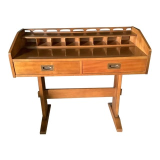 Thomasville Mid Century Modern Desk With Laminate Desk Area and Cubby Holes For Sale