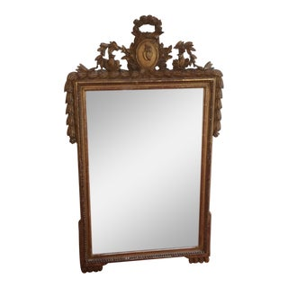 Giltwood Mirror With Birds and Sacred Heart For Sale
