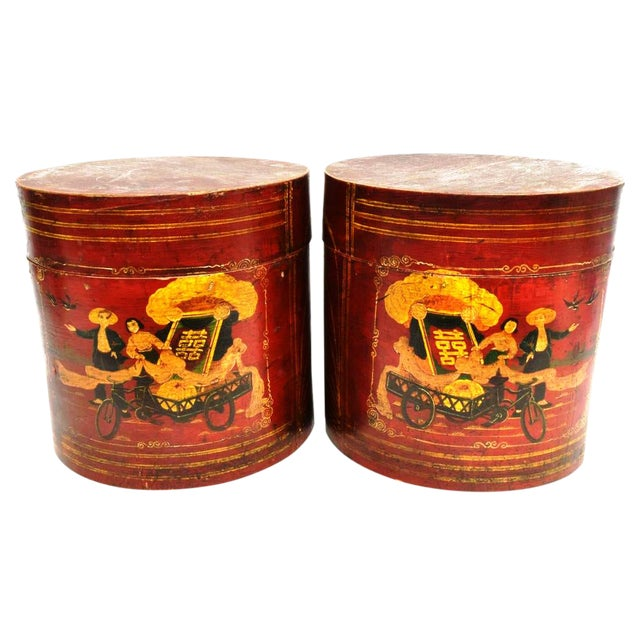 Chinese Cultural Revolution Round Boxes - a Pair For Sale