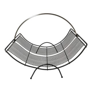 Mid Century Modern Black Mesh Metal Magazine Rack For Sale