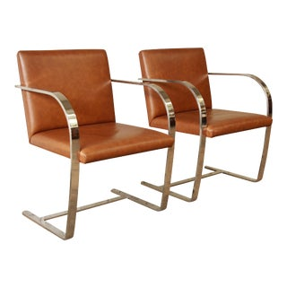 Mies Van Der Rohe Leather Brno Chairs - a Pair For Sale