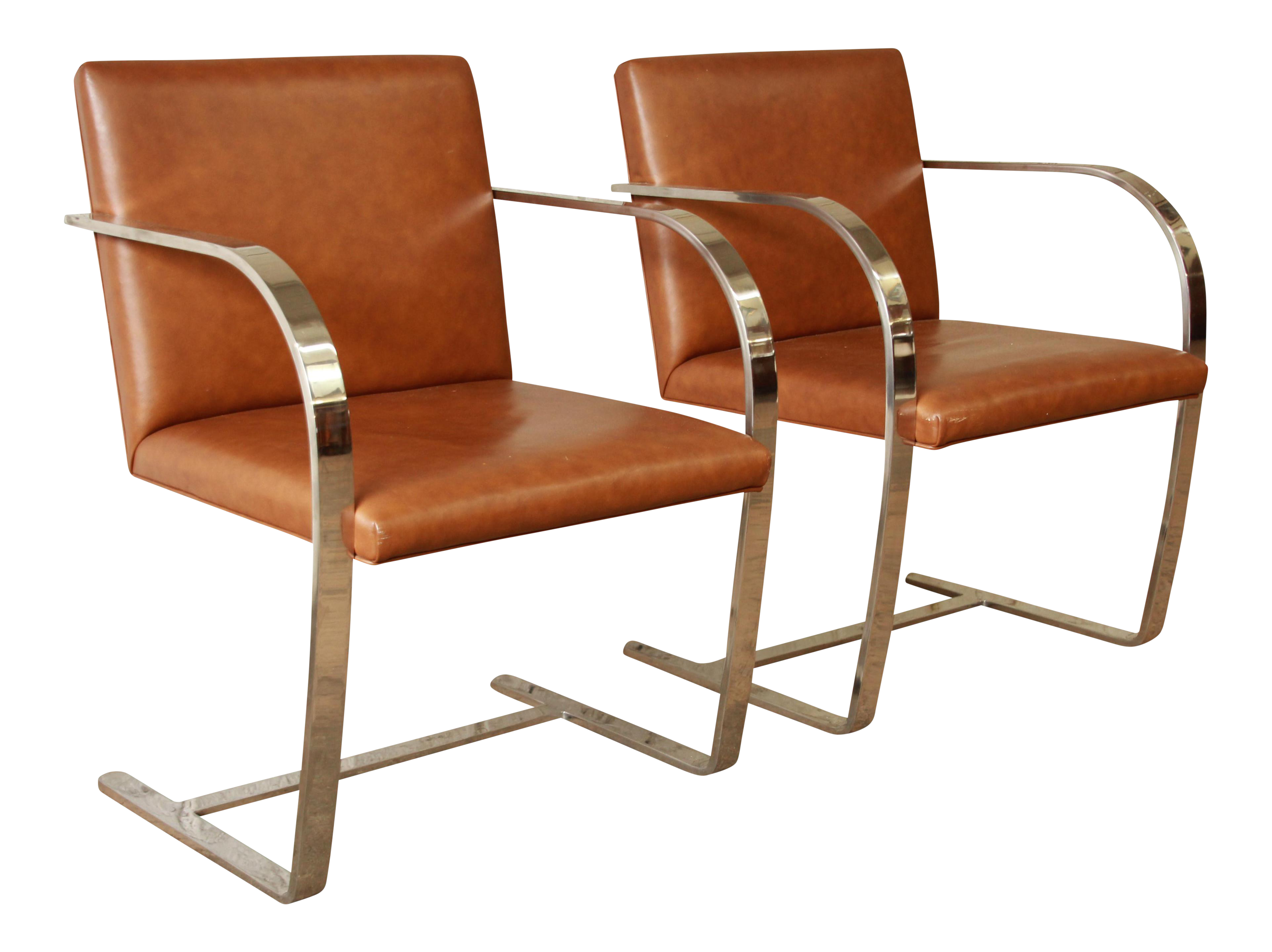 Mies Van Der Rohe Leather Brno Chairs   A Pair For Sale