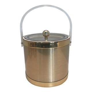 Vintage Georges Briard Gold Ice Bucket With Lucite Lid and Handle For Sale